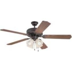 "Craftmade K11203 Pro Builder 204 5 Blades 52"" Indoor Ceiling Fan with Fluorescent Light Kit in Dark Oak"