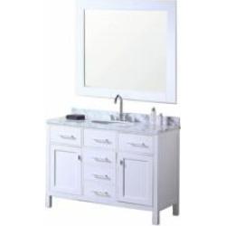 "Design Element DEC076C-W London Stanmark 48"" Freestanding Single Sink Bathroom Vanity Set in White"