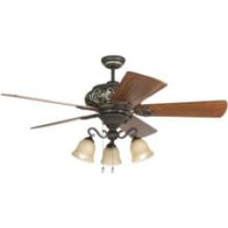 """Craftmade K11237 Ophelia 5 Blades 54"""" Indoor Ceiling Fan with Fluorescent Light Kit in Hand-Scraped Teak"""