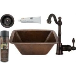 "Premier Copper Products BSP4-BRECDB3-D 17"" Rectangle Copper Bar/Prep Sink with Single Handle Bar Faucet and 3 1/2"" Strainer Drai"