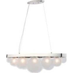 """ELK Home D4210 Zoetrope 5 Light 39 3/8"""" Incandescent Clear Glass One Tier Linear Chandelier in Polished Chrome"""