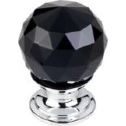 "Top Knobs TK115 Crystal 1 1/8"" Brass Round Shaped Black Crystal Cabinet Knob"