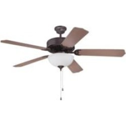 """Craftmade K11122 Pro Builder 207 5 Blades 52"""" Indoor Ceiling Fan with Fluorescent Light Kit in Washed Walnut Birch"""