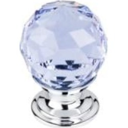 "Top Knobs TK113 Crystal 1 1/8"" Brass Round Shaped Light Blue Crystal Cabinet Knob"