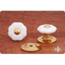 "RK International CK-321 1 1/4"" Flowery Porcelain Cabinet Knob with Brass Tip"