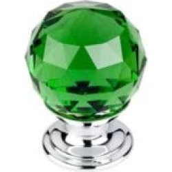 "Top Knobs TK119 Crystal 1 1/8"" Brass Round Shaped Green Crystal Cabinet Knob"