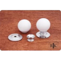 "RK International CK-303 1 1/4"" White Porcelain Chrome Cabinet Knob"