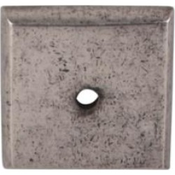 "Top Knobs M1450 Aspen 1 1/4"" Cast Bronze Square Cabinet Knob Backplate in Silicon Bronze Light"