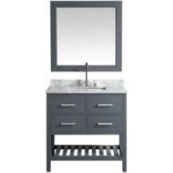 "Design Element DEC077A-G London Cambridge 36"" Freestanding Single Sink Bathroom Vanity Set in Country Gray"