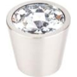 """Top Knobs TK136BSN Crystal 3/4"""" Brass Cone Shaped Clear Crystal Center Cabinet Knob in Brushed Satin Nickel"""