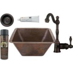 "Premier Copper Products BSP4-BS17DB-D 17"" Large Square Hammered Copper Bar/Prep Sink with Single Handle Bar Faucet 3 1/2"" Strain"