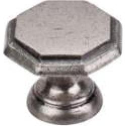 """Top Knobs M6 Britannia 1 1/4"""" Brass Geometric Shaped Devon Cabinet Knob in Pewter Antique"""