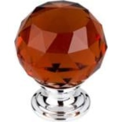 """Top Knobs TK122 Crystal 1 3/8"""" Brass Round Shaped Wine Crystal Cabinet Knob"""