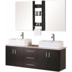 """Design Element DEC004 Portland 62"""" Wall Mount Double Sink Bathroom Vanity Set in Espresso"""