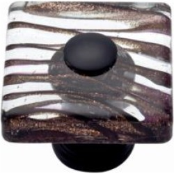 "Atlas Homewares 3205-O Dream Glass 1 1/2"" Square Shaped Milky Way Glass Cabinet Knob in Aged Bronze"