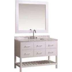 "Design Element DEC077D-W London Cambridge 48"" Freestanding Single Sink Bathroom Vanity Set in White"