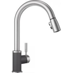 Blanco 442065 Sonoma 2.2 GPM Single Handle Kitchen Faucet with Pulldown Spray in Cinder/Stainless Steel found on Bargain Bro India from Decor Planet for $292.50