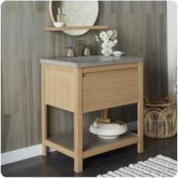 "Native Trails VNO301 Solace 30"" Freestanding Single Bathroom Vanity Base with NativeStone Shelf in Sunrise Oak"