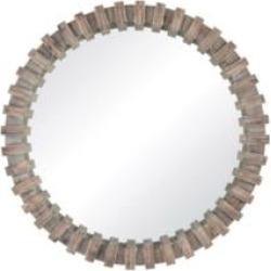 """Sterling 3183-021 Flywheel 35"""" Fir Wood Framed Circular Wall Mirror in Burnt Grey"""