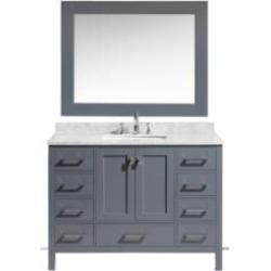 "Design Element DEC082C-G London Hyde 48"" Freestanding Single Sink Bathroom Vanity Set in Country Gray"