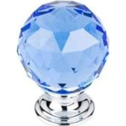 """Top Knobs TK124 Crystal 1 3/8"""" Brass Round Shaped Blue Crystal Cabinet Knob"""