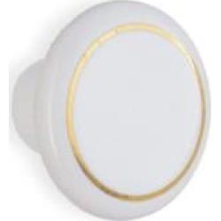 "Smedbo B311-2 1 1/2"" Porcelain Mushroom Cabinet Knob with Gold Rim in White"