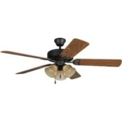 """Craftmade BLD52ABZ5C3 Builder Deluxe 5 Blades 52"""" Indoor Ceiling Fan with Lighting Kit in Aged Bronze Brushed"""