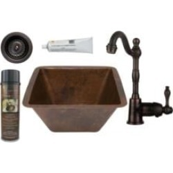 "Premier Copper Products BSP4-BS15DB3-D 15"" Square Hammered Copper Bar/Prep Sink with Single Handle Bar Faucet and 3 1/2"" Straine"