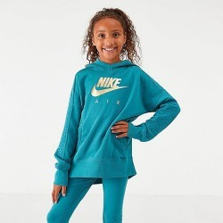 Nike Girls' Air Metallic Pullover Hoodie in Blue Size Large