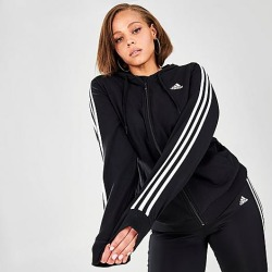 Adidas Women's Essentials 3-Stripes Full-Zip Hoodie (Plus Size) in Off-White/Black Size Extra Large Cotton/Jersey found on Bargain Bro Philippines from Finish Line for $55.00