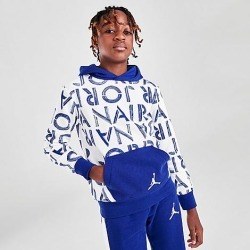 Jordan Boys' Air Stencil Hoodie in White/Blue Size Medium Cotton found on MODAPINS from Finish Line for USD $55.00