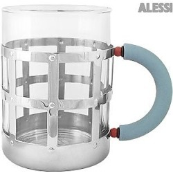 Alessi Designer Kitchen & Dining, Stainless Steel Mug with Blue Handle found on Bargain Bro UK from FORZIERI.COM (UK)
