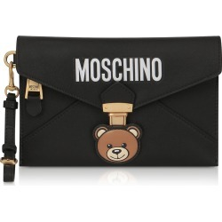 Moschino Designer Handbags, Teddy Bear Black Leather Clutch w/Wristlet found on Bargain Bro Philippines from Forzieri for $351.00