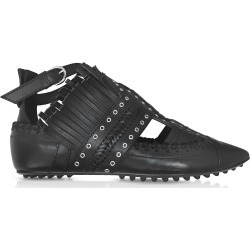 Carven Designer Shoes, Black Fringed Leather Flat Ballerinas found on MODAPINS from FORZIERI  AU for USD $249.88
