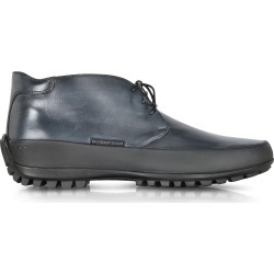 Pakerson Designer Shoes, Smoke Blue Leather Ankle Boot w/Rubber Sole found on Bargain Bro Philippines from Forzieri for $428.00