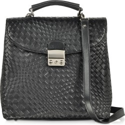 Forzieri Designer Briefcases, Black Woven Leather Vertical Messenger