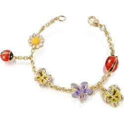 AZ Collection Designer Bracelets, Garden Line - Enamel Gold Plated Charm Bracelet found on Bargain Bro UK from FORZIERI.COM (UK)