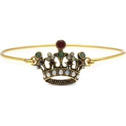 Alcozer & J Designer Bracelets, Princess Goldtone Brass Bangle w/Crown