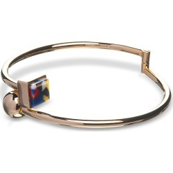 Egotique Designer Bracelets, Arlequin Golden Brass Thin Bangle w/Multicolor Stone