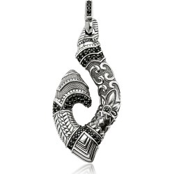 Thomas Sabo Designer Men's Necklaces, Blackened Sterling Silver Maori Hook Pendant w/Black Zirconia