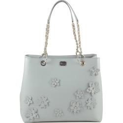 Blumarine Designer Handbags, Light Blue Flower Tote Bag w/Chains found on MODAPINS from Forzieri for USD $302.00