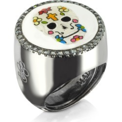 Azhar Designer Rings, Calavera Skull Rhodium Plated Sterling Silver Adjustable Ring w/White Cubic Zirconia found on Bargain Bro UK from FORZIERI.COM (UK)