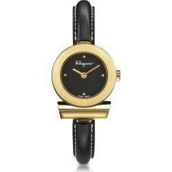 Salvatore Ferragamo Designer Women's Watches, Gancino Gold IP Stainless Steel and Black Leather Strap Women's Watch found on Bargain Bro UK from FORZIERI.COM (UK)