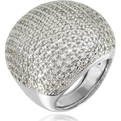 Azhar Designer Rings, Large Cubic Zirconia Sterling Silver Cocktail Ring found on Bargain Bro UK from FORZIERI.COM (UK)