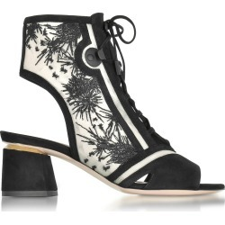 Nicholas Kirkwood Designer Shoes, Phoenix Black Embroidered Lace-up Bootie found on Bargain Bro Philippines from Forzieri for $594.00