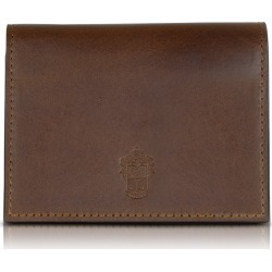 Pineider Designer Small Leather Goods, Power Elegance Double Dark Brown Leather Card Holder found on Bargain Bro Philippines from Forzieri for $228.00
