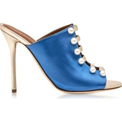 Malone Souliers Designer Shoes, Zada Blue and Platinum Satin High Heel Mules found on Bargain Bro Philippines from Forzieri for $275.40