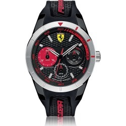 Ferrari Designer Men's Watches, Red Rev T Silver Tone Stainless Steel Case and Black Silicone Strap Men's Watch found on Bargain Bro UK from FORZIERI.COM (UK)
