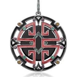 Thomas Sabo Designer Necklaces, Blackened Sterling Silver, Enamel and Glass-ceramic Stones Asian Ornaments Pendant