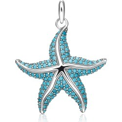 Thomas Sabo Designer Necklaces, Blackened Sterling Silver Starfish Pendant w/Turquoise Stone glass-ceramic Stones